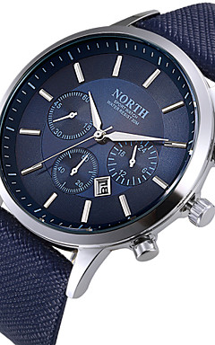 cheap -Men's Wrist Watch Aviation Watch Quartz Leather Black / White / Blue Calendar / date / day Cool Day Date Analog Classic Fashion - Black Coffee Blue Two Years Battery Life / Stainless Steel