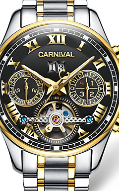 cheap -Carnival Men's Skeleton Watch Automatic self-winding Stainless Steel White / Gold 30 m Hollow Engraving Analog - Digital Charm - black / gold