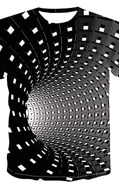 رخيصةأون -رجالي أناقة الشارع / بانغك & قوطي طباعة قياس كبير تيشرت, هندسي / 3D رقبة دائرية / كم قصير