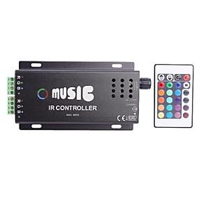 Недорогие RGB контроллеры-Общий анод ИК Два Газа 24key гамма музыка контроллер RGB светодиодные ленты с пультом ДУ (DC12-24V)