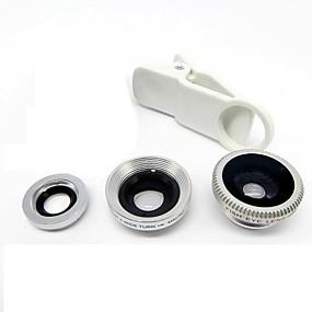 billige Linser til mobiltelefoner-universel kliplins bred vinkel + makro + fisheye linse - sølv til iphone 8 7 samsung galakse s8 s7
