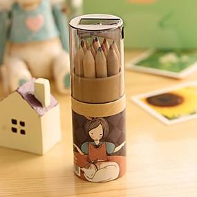 Недорогие Дом и кухня-мультфильм девушка шаблон 12 цветной карандаш для рисования (12 шт / комплект) для школы / офиса