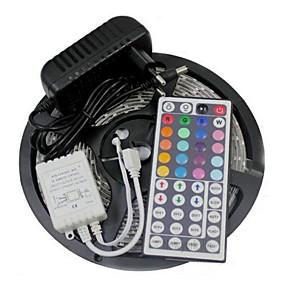 ieftine Benzi Lumină LED-5m Fâșii De Becuri LEd Flexibile / Bare De Becuri LED Rigide / Fâșii RGB LED-uri 3528 SMD RGB Telecomandă / Ce poate fi Tăiat / Intensitate Luminoasă Reglabilă 100-240 V / De Legat / Auto- Adeziv