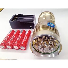 olcso Zseblámpák-LED zseblámpák LED Cree® XM-L T6 8 Sugárzók 9600lm 3 világítás mód akkukkal és töltővel Vízálló Újratölthető Night vision Kempingezés / Túrázás / Barlangászat Mindennapokra Rendőr / Katonaság Fekete