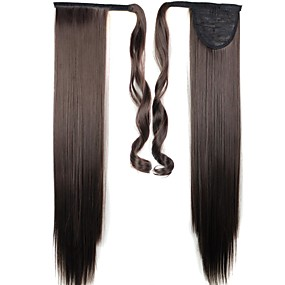 cheap Makeup & Nail Care-Dark Brown Straight Ponytails Synthetic Hair Piece Hair Extension