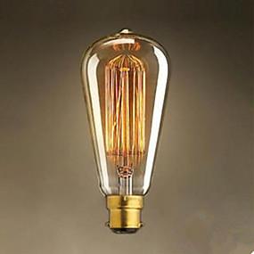 billige Glødelamper-1pc 40 W / 60 W B22 ST64 Varm hvid 2300 k Glødende Vintage Edison lyspære 220-240 V / 220 V