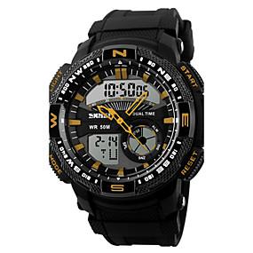 זול שעוני מותגים-בגדי ריקוד גברים שעוני ספורט שעון יד דיגיטלי דמוי עור מרופד שחור 50 m עמיד במים Alarm לוח שנה אנלוגי-דיגיטלי פאר - אדום כחול מוזהב / כרונוגרף / LED / אזור זמן כפול