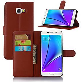 voordelige Galaxy A8 Hoesjes / covers-hoesje Voor Samsung Galaxy A3 (2017) / A5 (2017) / A7 (2017) Kaarthouder / met standaard / Flip Volledig hoesje Effen PU-nahka