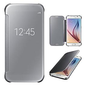 voordelige Galaxy S7 Edge Hoesjes / covers-hoesje Voor Samsung Galaxy S7 edge / S7 / S6 edge plus met venster / Spiegel / Flip Volledig hoesje Effen PC