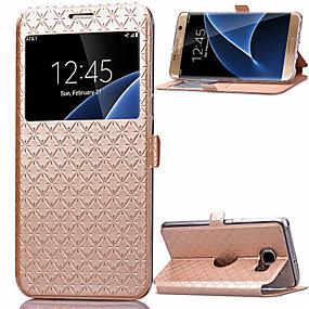 voordelige Galaxy S6 Edge Plus Hoesjes / covers-hoesje Voor Samsung Galaxy S8 Plus / S8 / S7 edge Kaarthouder / met standaard / met venster Volledig hoesje Geometrisch patroon PU-nahka