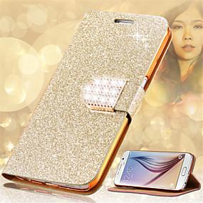 voordelige Galaxy S6 Edge Plus Hoesjes / covers-hoesje Voor Samsung Galaxy S8 Plus / S8 / S6 edge plus Kaarthouder / Strass / met standaard Volledig hoesje Glitterglans Hard PU-nahka