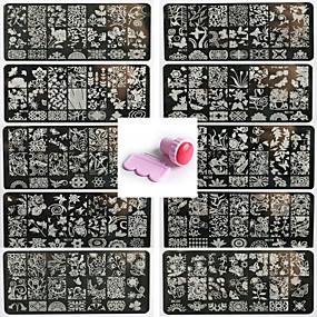voordelige Nagelstempels-10st nail art zegel sjabloon nagel lace pattren geven 1 set afdichting hulpmiddel 12x6cm