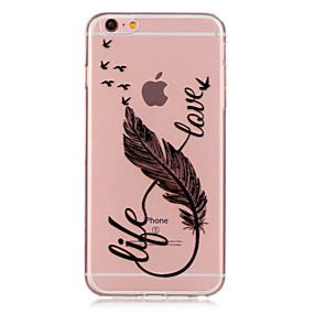 olcso iPhone tokok-Case Kompatibilitás Apple iPhone 6 Plus / iPhone 6 Átlátszó / Minta Fekete tok Tollak Puha TPU mert iPhone 6s Plus / iPhone 6s / iPhone 6 Plus