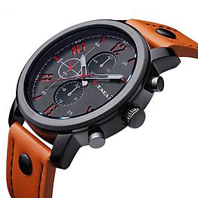 3790758b6af baratos Jóias  amp  Relógios-Homens Relógio de Pulso Quartzo Couro Preta    Marrom Relógio