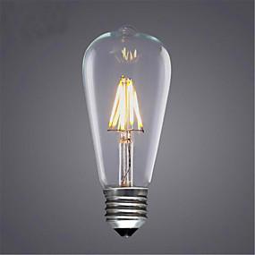 povoljno LED žarulje s nitima-1pc 4 W LED filament žarulje 300-350 lm E26 / E27 ST64 4 LED zrnca COB Ukrasno Toplo bijelo Hladno bijelo 220-240 V / 1 kom. / RoHs