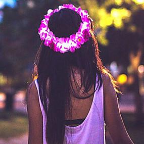 billige Blomstersmykker-Dame Jente Blomster Opplyst Selvlysende Hårsmykker-Blomst / Tøy