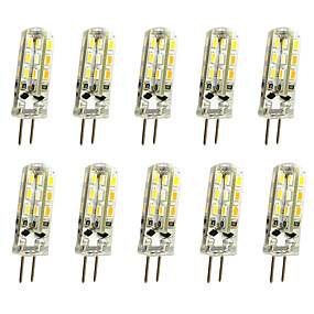 abordables Luces LED de Doble Pin-Jiawen 10pcs 1w 120lm g4 llevó luces de doble pin bombilla de maíz 24led smd 3014 lámpara de araña decorativa blanco cálido / blanco frío ac / dc 12v