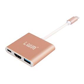 お買い得  USB ハブ & スイッチ-USB 3.1タイプC USB 3.1タイプC to HDMI 2.0 USB 3.0 USB 3.1 0.15メートル(0.5Ft)