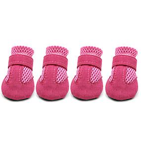 baratos Suprimentos Para Animais De Estimação-Cachorro Sapatos e Botas Casual Sólido Para animais de estimação Pele Vermelho / Verão / Inverno