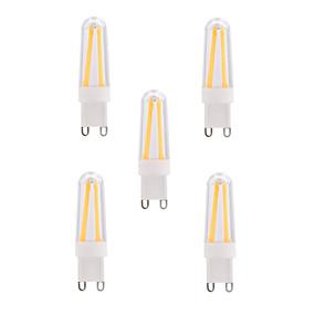 Χαμηλού Κόστους Λαμπτήρες LED με νήμα πυράκτωσης-BRELONG® 5pcs 4 W LED Λάμπες Πυράκτωσης 400 lm E14 G9 T 4 LED χάντρες COB Με ροοστάτη Θερμό Λευκό Ψυχρό Λευκό 220-240 V / 5 τμχ