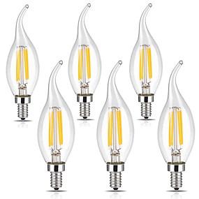 Χαμηλού Κόστους Λαμπτήρες LED με νήμα πυράκτωσης-6pcs 3 W LED Λάμπες Πυράκτωσης 400 lm E12 CA35 4 LED χάντρες COB Με ροοστάτη Διακοσμητικό Θερμό Λευκό Ψυχρό Λευκό 110-120 V / 6 τμχ / RoHs