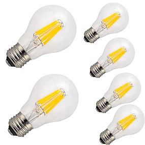 Χαμηλού Κόστους Λαμπτήρες LED με νήμα πυράκτωσης-6pcs 9 W LED Λάμπες Πυράκτωσης 1100 lm E26 / E27 A60(A19) 12 LED χάντρες COB Διακοσμητικό Θερμό Λευκό Ψυχρό Λευκό 220-240 V / 6 τμχ / RoHs