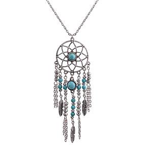 billige Turkis-Dame Turkis Kvast Halskædevedhæng Drømmefanger Damer Bohemisk Mode Euro-Amerikansk Sølv Halskæder Smykker Til Daglig