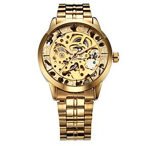 billige Smykker og ure-WINNER Herre Skeletur Armbåndsur Mekanisk Ur Automatisk Selv-optræk Rustfrit stål Guld Hul Indgravering Analog Luksus - Sølv Gylden