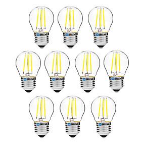 Χαμηλού Κόστους Λαμπτήρες LED με νήμα πυράκτωσης-BRELONG® 10pcs 4 W LED Λάμπες Πυράκτωσης 300 lm E27 G45 4 LED χάντρες COB Με ροοστάτη Θερμό Λευκό Άσπρο 200-240 V / 10 τμχ