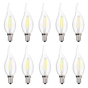 billige Glødelamper-brelong 10 stk 2w e14 ledd dæmpbar stearinlys pære c35 dc12v hvid / varm hvid