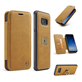 voordelige Galaxy S7 Hoesjes / covers-hoesje Voor Samsung Galaxy S8 Plus / S8 / S7 edge Portemonnee / Kaarthouder / Ringhouder Volledig hoesje Effen Kleur Hard aitoa nahkaa