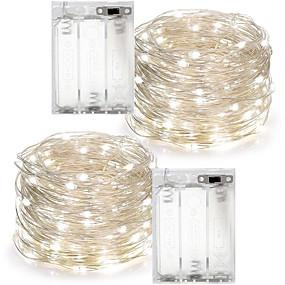 economico Casa e cucina-2 pz 10 m (2 * 5 m) 100leds 3aaa 4.5 v alimentato a batteria decorazione impermeabile led filo di rame luci stringa per festa di natale festa di nozze