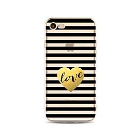 olcso iPhone tokok-Case Kompatibilitás Apple iPhone X / iPhone 8 Átlátszó / Minta Fekete tok Vonalak / hullámok / Szív Puha TPU mert iPhone X / iPhone 8 Plus / iPhone 8