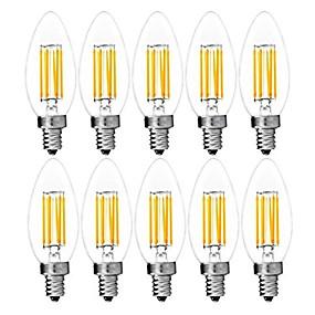Χαμηλού Κόστους Λαμπτήρες LED με νήμα πυράκτωσης-10pcs 6 W LED Λάμπες Πυράκτωσης 560 lm E14 C35 6 LED χάντρες COB Διακοσμητικό Θερμό Λευκό Ψυχρό Λευκό 220-240 V / RoHs