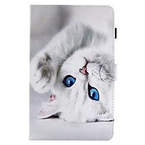 billige Etuier / covers til Samsung Tab-modellerne-Etui Til Samsung Galaxy / Tab A 8.0 / Tab A 9.7 Kortholder / Med stativ / Flip Fuldt etui Kat Hårdt PU Læder for Tab E 9.6 / Tab E 8.0 / Tab A 10.1 (2016)