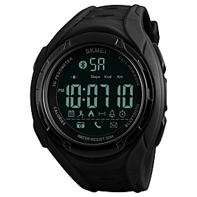 voordelige Merk Horloge-SKMEI Heren Sporthorloge Digitaal horloge Kwarts Gewatteerd PU-leer Zwart / Kaki / Klavergroen 50 m Waterbestendig Bluetooth Kalender Digitaal Luxe Informeel Modieus - Zwart Groen / Stappentellers