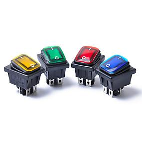 billige Strømafbryder-4 stk 12v 15a 4pin vandtæt rocker switch med lampe dpst dpst bilbåd