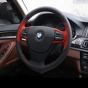 billige Rattet dækker-Ratovertræk til din bil ægte læder Rød / Blå Til BMW X3 / X5 / 3-serien Alle år