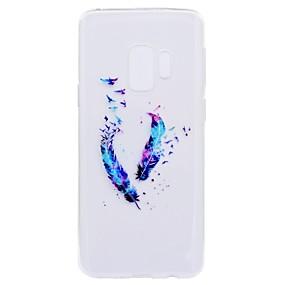 Недорогие Чехлы и кейсы для Galaxy S5 Mini-Кейс для Назначение SSamsung Galaxy S9 / S9 Plus / S8 Plus Прозрачный / С узором Кейс на заднюю панель Перья Мягкий ТПУ