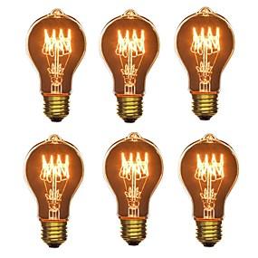 billige Glødelamper-6stk 40W E26/E27 A60(A19) Varm hvid 2200-2700 K Kontor/Business Dæmpbar Dekorativ Glødende Vintage Edison lyspære 220V-240V V