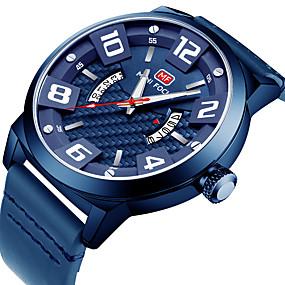 Недорогие Фирменные часы-MINI FOCUS Муж. Повседневные часы Японский Кварцевый Натуральная кожа Черный / Синий / Коричневый Календарь Фосфоресцирующий Повседневные часы Аналоговый Мода - Кофейный Синий Хаки
