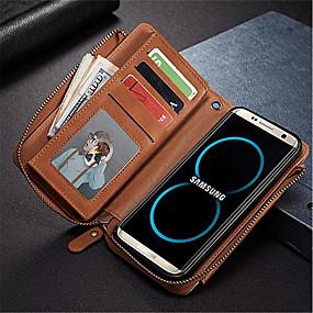 voordelige Galaxy S7 Edge Hoesjes / covers-hoesje Voor Samsung Galaxy S8 Plus / S8 / S7 edge Portemonnee / Kaarthouder / Schokbestendig Volledig hoesje Effen Kleur Hard PU-nahka