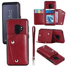 levne Galaxy S pouzdra / obaly-Carcasă Pro Samsung Galaxy S9 Plus / S9 Peněženka / Pouzdro na karty / Flip Celý kryt Jednobarevné Pevné Pravá kůže pro S9 / S9 Plus / S8 Plus