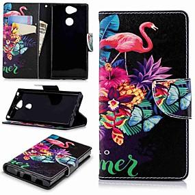 baratos Sony-Capinha Para Sony Xperia XA2 / Xperia L2 Carteira / Porta-Cartão / Com Suporte Capa Proteção Completa Flamingo Rígida PU Leather para Xperia XA2 / Xperia L2