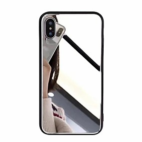 olcso iPhone tokok-Case Kompatibilitás Apple iPhone X / iPhone 8 Plus Tükör Fekete tok Egyszínű Kemény Akril mert iPhone X / iPhone 8 Plus / iPhone 8