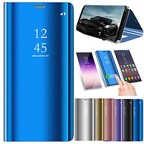 voordelige Galaxy J7(2017) Hoesjes / covers-hoesje Voor Samsung Galaxy J7 Prime / J7 Max / J7 (2017) met standaard / Beplating / Spiegel Volledig hoesje Effen Hard PU-nahka
