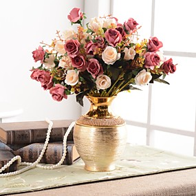baratos Casa & Cozinha-Flores artificiais 0 Ramo Clássico Tradicional / Clássico Europeu Vaso Flor de Mesa / Único vaso
