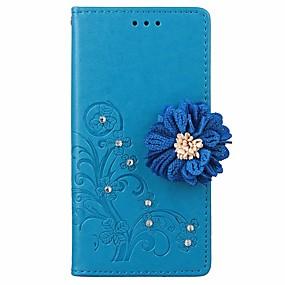 voordelige Galaxy J1 Hoesjes / covers-hoesje Voor Samsung Galaxy J7 (2016) / J7 / J5 (2016) Portemonnee / Kaarthouder / Strass Volledig hoesje Effen / Bloem Hard PU-nahka