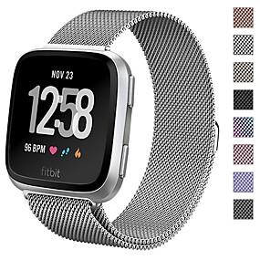 billige Apple-tilbehør-Urrem for Fitbit Versa Fitbit Sportsrem / Milanesisk rem Metal Håndledsrem