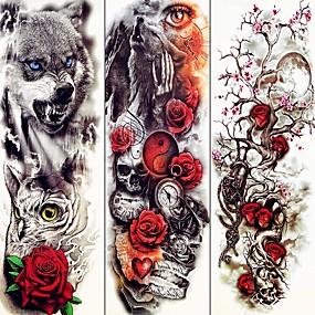 billige Midlertidige tatoveringer-3 pcs midlertidige Tatoveringer Dyre Serier / Blomster Serier Glatt klistremerke / Økovennlig / Til engangsbruk kropps~~POS=TRUNC arm / Decal-stil midlertidige tatoveringer